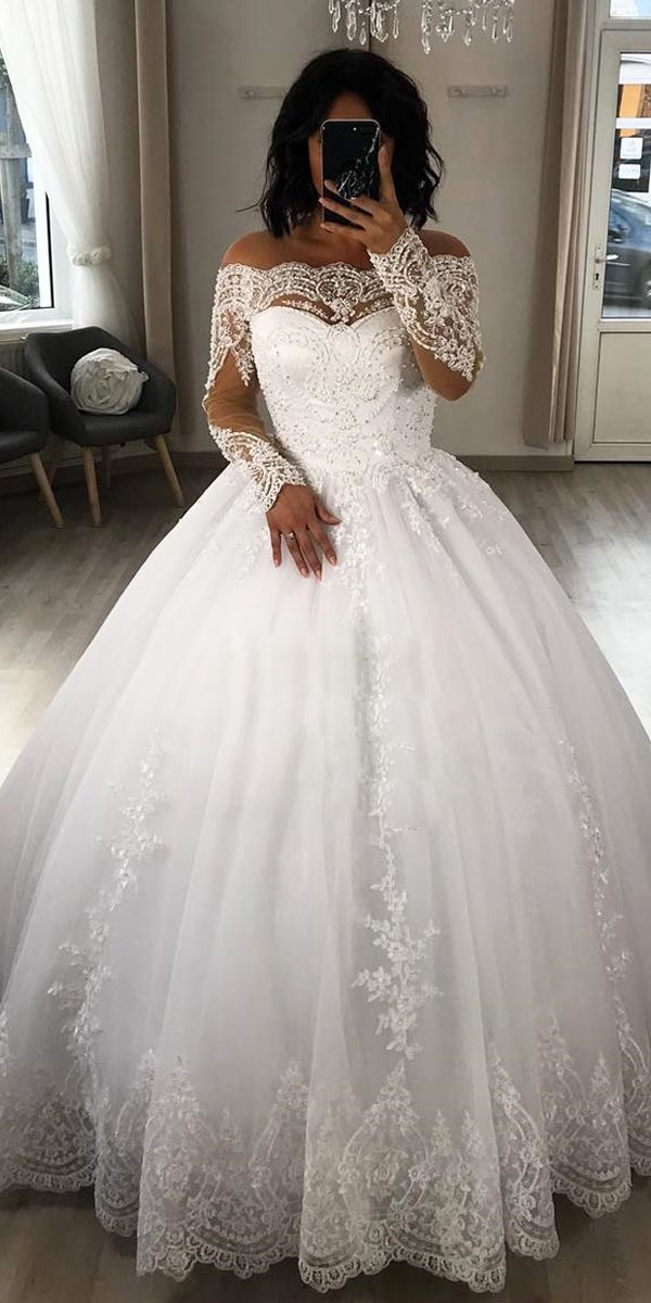 d6c81fe30a2 Exquisite Tulle Off-the-shoulder Neckline Ball Gown Wedding Dresses With Beaded  Lace Appliques