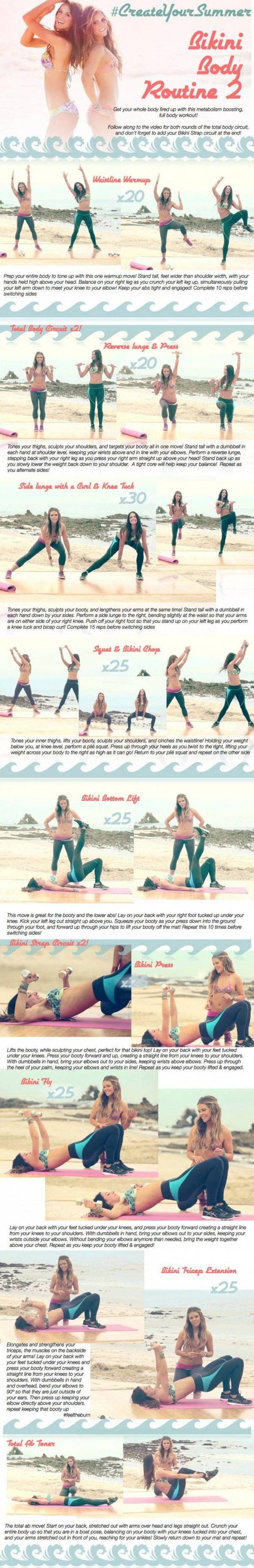 Total Body Workout 2! - Short, sweet, simple...feel that butt burn! WEEK 4 #BIKINISERIES Schedule!