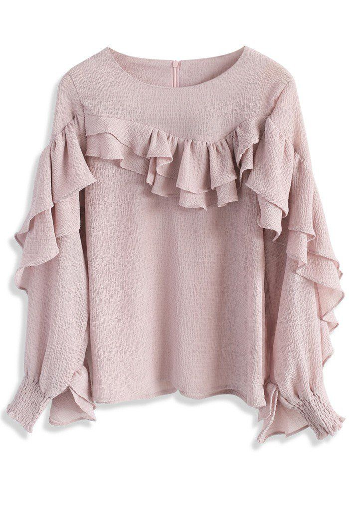 Ruffle Fanatic Crepe Top in Pink - New Arrivals - Retro, Indie and Unique Fashion