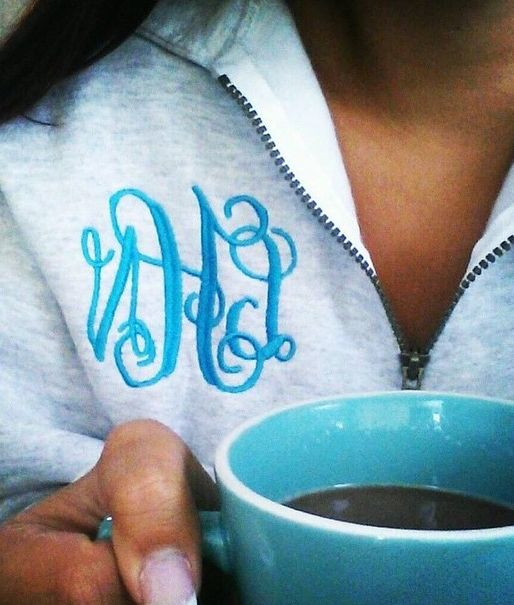 Our Monogrammed Quarter Zip Sweatshirt is perfect for those Chilly mornings and nights. Enjoy your morning cup of coffee while being comfortable and cute in this monogrammed sweatshirt. Gets your today for an every day low price!