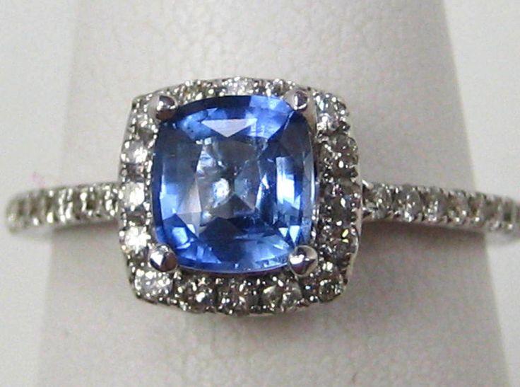Certificado Azul No anillo de zafiro Halo Diamante Sólido De 14k Oro Blanco De Ceilán in Joyería y relojes, Joyería fina, Anillos finos | eBay
