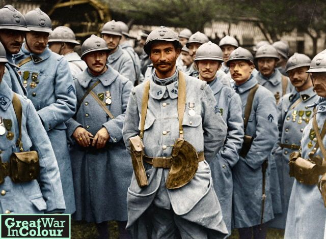 French soldiers receive the Military Medal for acts of bravery during the Battle of the Somme. France, 1916.