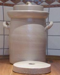 Grauer Gärtopf (mit Steinen und Deckel) 10 Liter