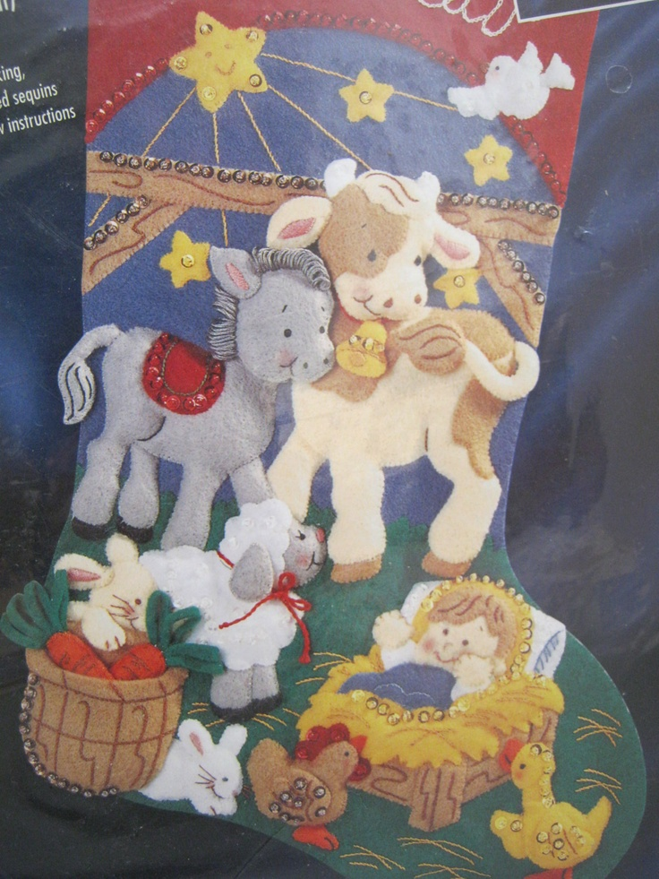 1997 Bucilla 83659 Away in A Manger Felt Applique Christmas Stocking Kit Love this but can never find it cheap enough