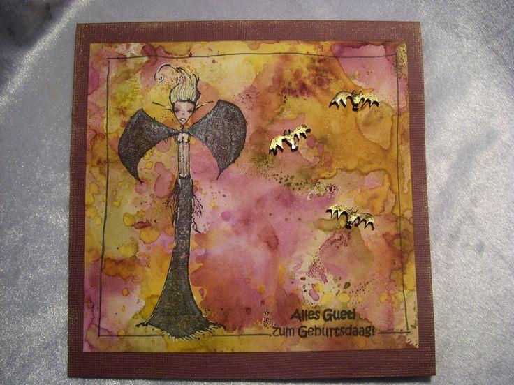Hintergrund Distress ink , Spooky Lady und schrumpf Fledermäuse