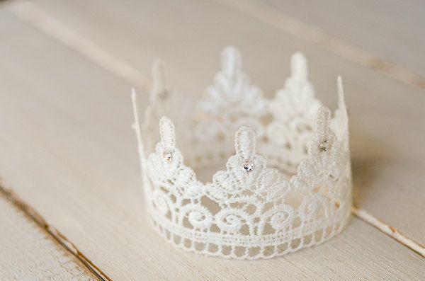 White Lace Newborn Crown, Photography Prop, Swarovski Crystals. $8.00, via Etsy.