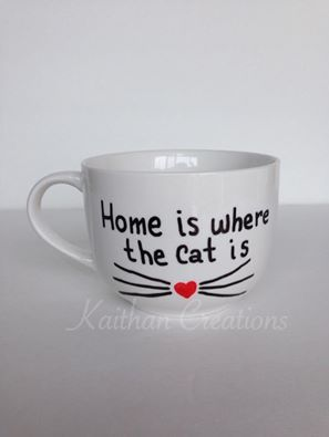 Home is where the Cat is Mug for the Cat lovers by Kaithan Creations.  Can be personalized. Visit my Facebook page to place your order. https://www.facebook.com/kaithancreations/photos/a.477422192457533.1073741846.216663808533374/484313198435099/?type=3