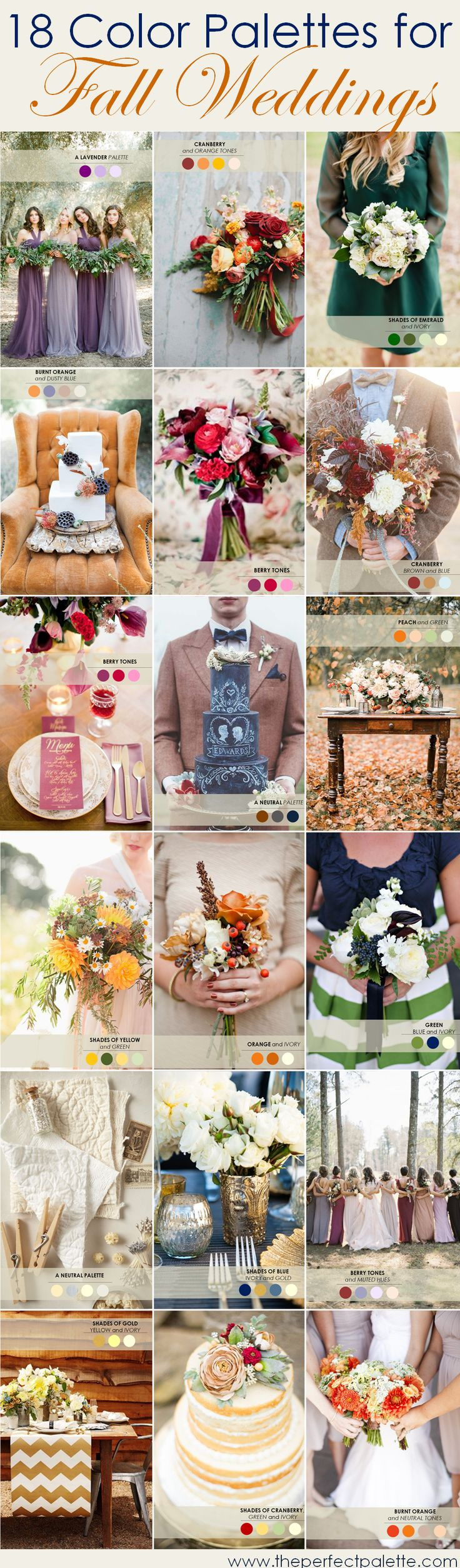 <18 Color Palettes for a Fall Wedding>.