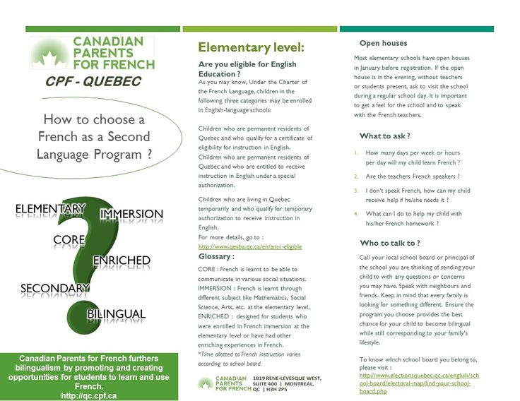 How to choose a FSL Program in Quebec ? Elementary School.