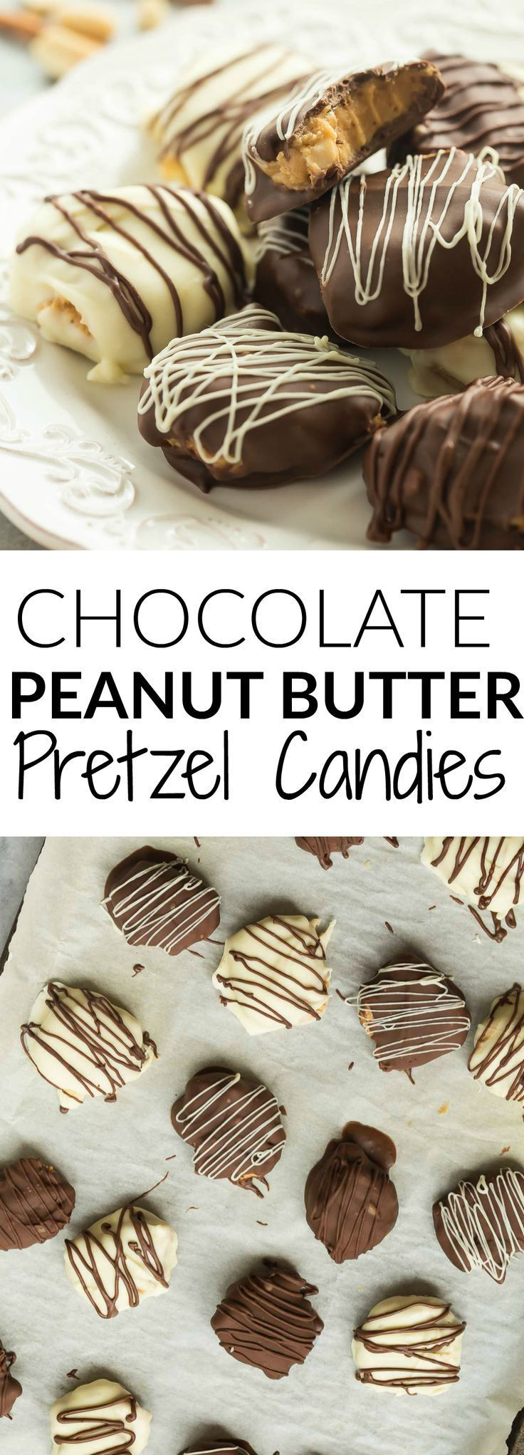 These Chocolate Peanut Butter Pretzel Candies are an easy, no bake treat for the holidays (or any day!)! A crisp chocolate coating is filled with creamy peanut butter filling, chopped salted peanuts and pretzels for the ultimate sweet and salty dessert!