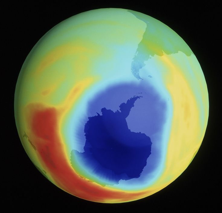 """A coloured satellite map of atmospheric ozone in the southern hemisphere between mid-August and early October 1998. An ozone """"hole"""" is seen over Antarctica."""