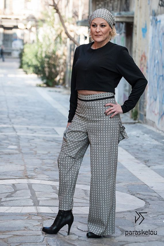 skirt over trousers asymmetric trousers by paraskeloufashion