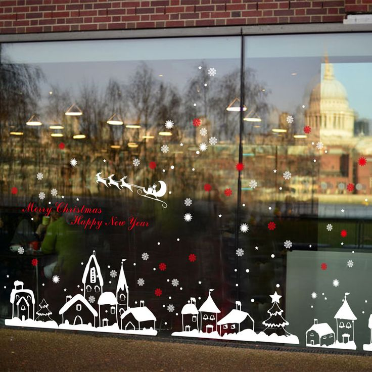 [Fundecor] diy white snow town christmas wall stickers window glass festival decals murals Christmas Decorations for Home decor  Price: 4.95 USD