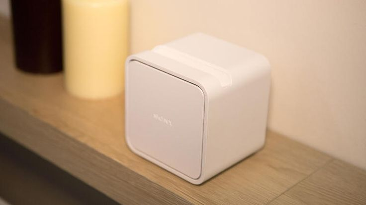 "Portable short-throw projector by Sony. Small, wireless, touch sensitive and even water proof. Can cast a 22 to 70"" screen from a couple inches away. Available late 2015."