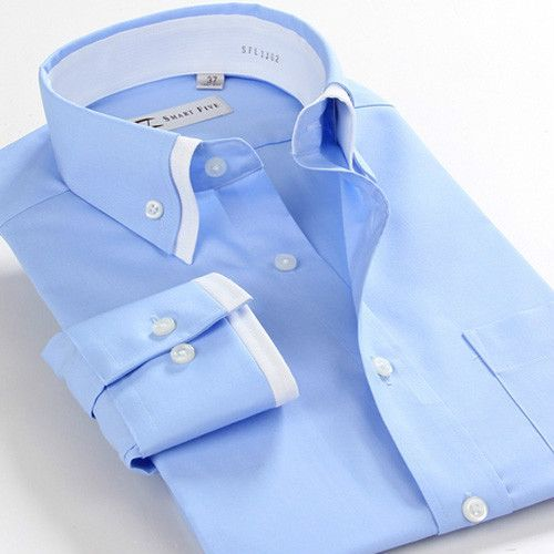 Double cuff double collar botton down men's high quality dress formal type long sleeve shirts