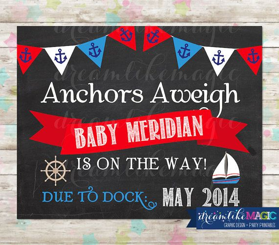 nautical baby on board  pregnancy announcement  baby on