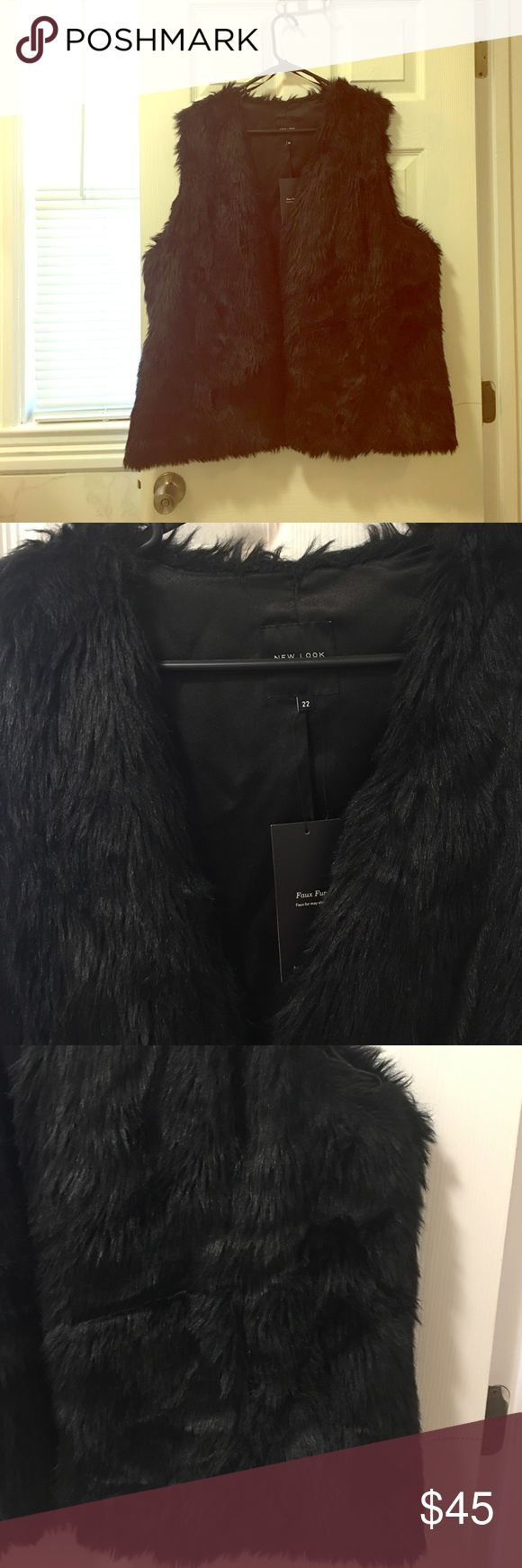 NWT ASOS faux fur vest Never worn! Says size 22 but is in UK sizes. Fits like a 20 in my opinion. Jet black. Faux fur ASOS Curve Jackets & Coats Vests