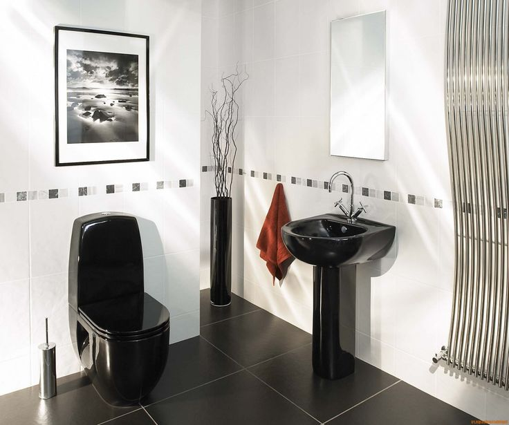 Calm Small Black And White Bathroom Idea With White Wall Paint Color And  Black Ceramic Floor