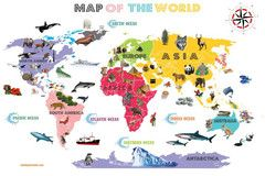 Interactive World Map For Kids - White and Bright - Fun Maps For Kids