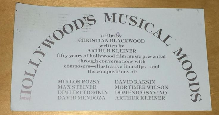 Hollywood's Musical Moods Film Ad Christian Blackwood Movie Music Composers