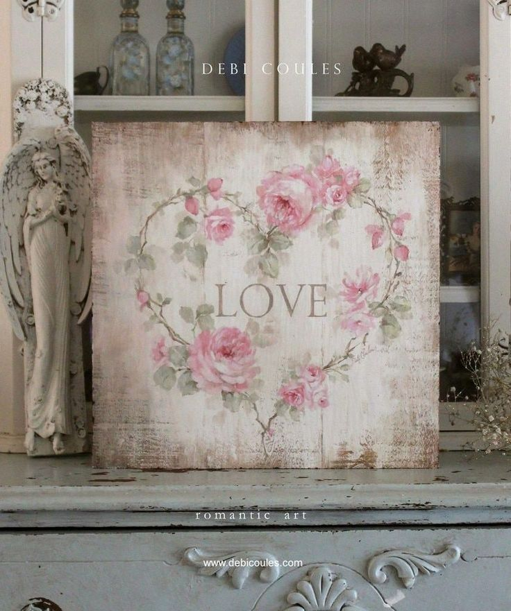"""Love"" Roses Heart Sign Printed on Wood by Debi Coules – Elizabeth Jackson"