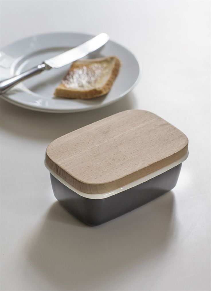 Enamel Butter Dish with Wooden Lid in Charcoal