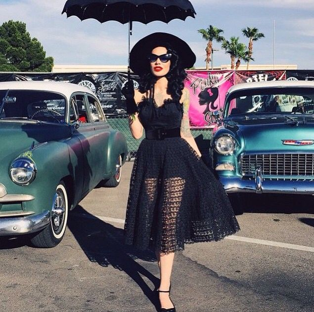 All black sheer full rockabilly dress with an amazing umbrella and cateye sunglasses #gothabilly #retro