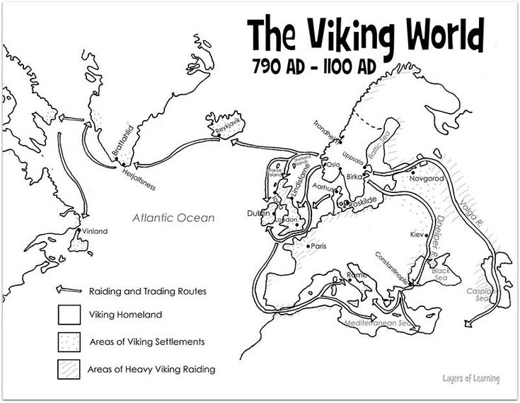 Free printable map of The Viking World