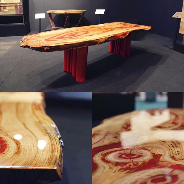 With red painted inlays in wood, this table with red metal legs is unique and bold. It can be made as a coffee table or dining table. Each piece is carefully hand-selected to ensure great looking tops with attention paid to variation and the final appearance of each individual piece.  A modern piece of art which is a brave addition to contemporary interior design.