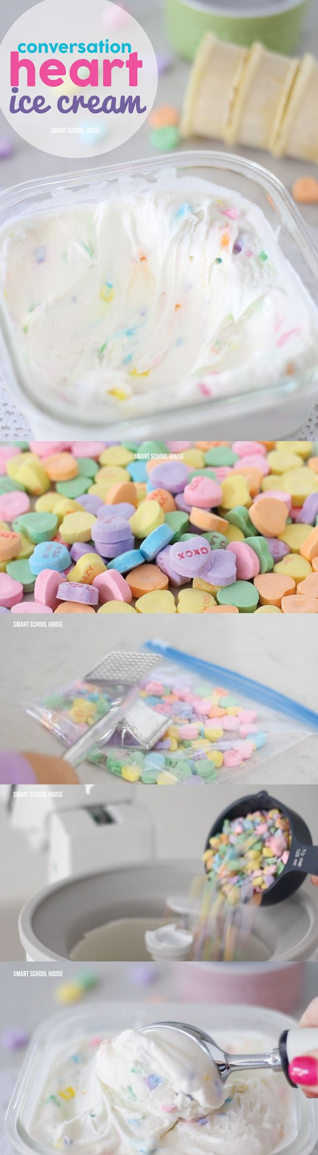 "Conversation Heart Ice Cream for Valentine's Day! So easy and you don't have to have an ice cream maker. My daughter said, ""This is the best ice cream EVERRRR!"""