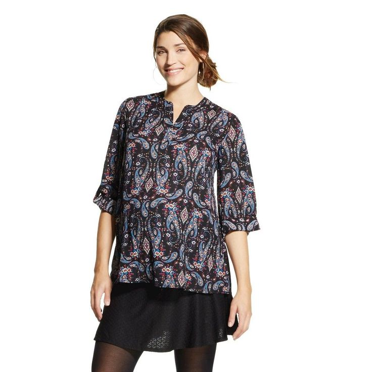 Women's Maternity 3/4 Sleeve Chiffon Roll Tab Print Top