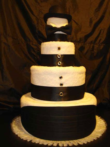 4-tier wedding towel cake