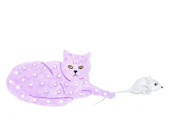 Cat Gift Cards  Lilac Spotted Cat with Mouse  by BlackCatStudioArt