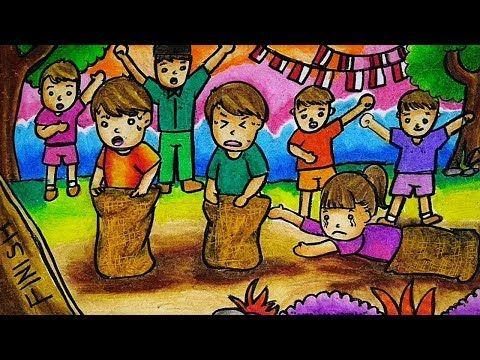Cara Menggambar Dan Mewarnai Tema Lomba 17 Agustus Kemerdekaan Ri Youtube Sketsa Cara Menggambar Lukisan Kain