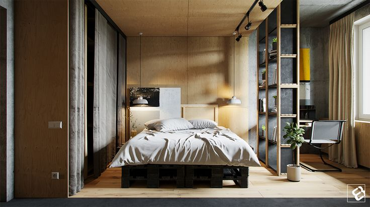 Modern interior with open concrete and loft decor elements