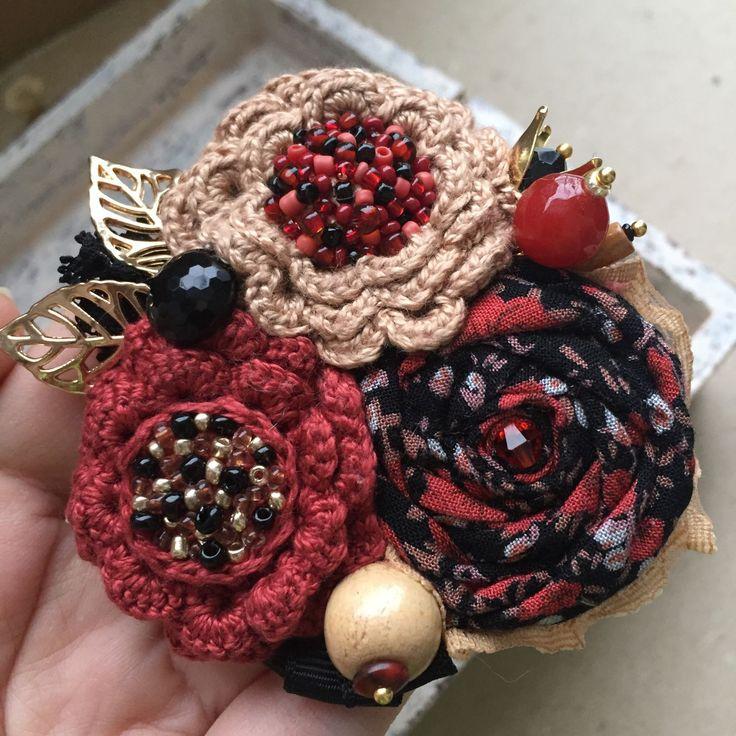 """Купить Вязано-текстильная брошь """"Летний вечер"""" - брошь ручной работы, брошь цветок"""