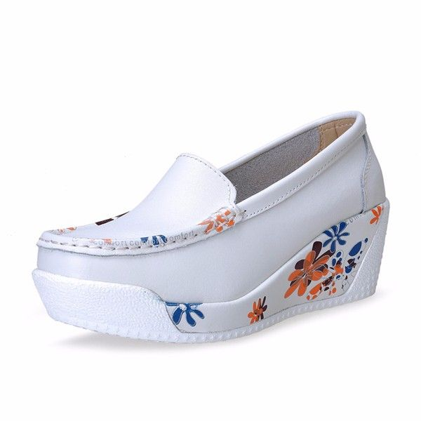 Sale 25% (33.89$) - Floral Print Soft Leather Comfortable Wedge Heel Platform Shoes