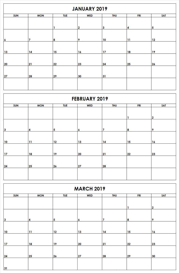 2019 q1 months printable calendar