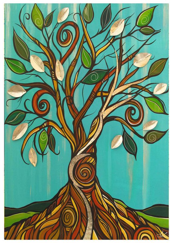 Tree of life turquoise tree west coast art card blank by April Lacheur
