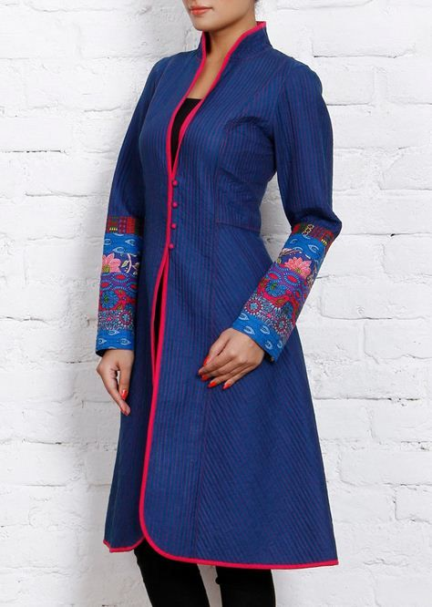Dark blue cotton #QuiltedJacket by #JaipurPitara brand
