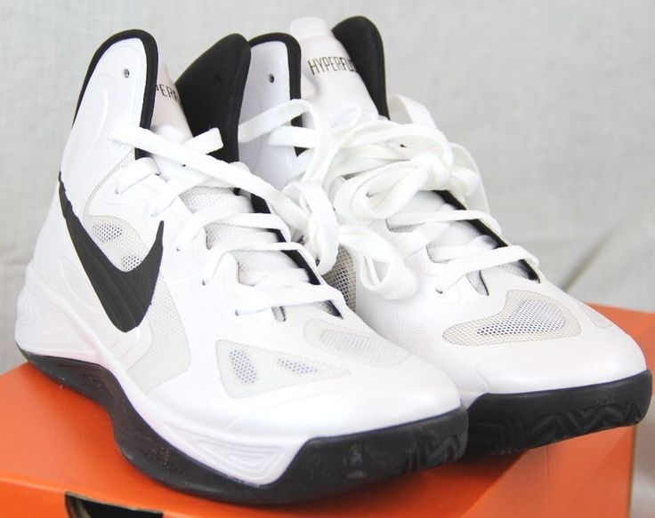 *NEW* Nike Men s Hyperfuse TB White/Black Basketball Shoes 525019-100