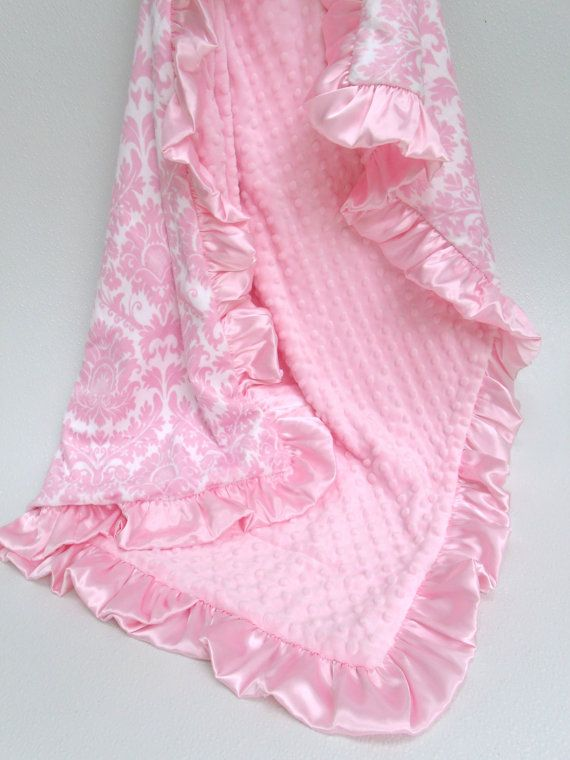 Hey, I found this really awesome Etsy listing at http://www.etsy.com/listing/62081027/pink-damask-minky-blanket-for-a-baby