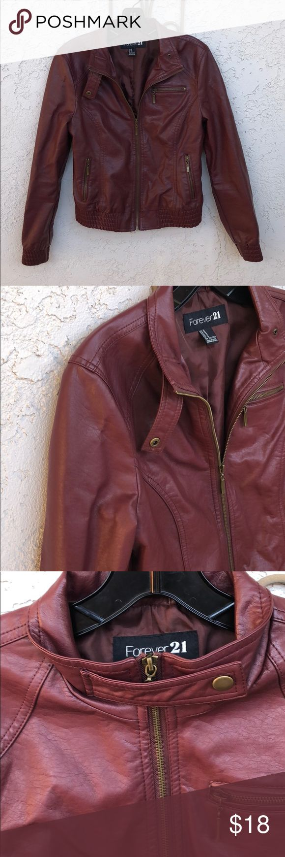 Forever 21 Dark Red Faux Leather Jacket Excellent used