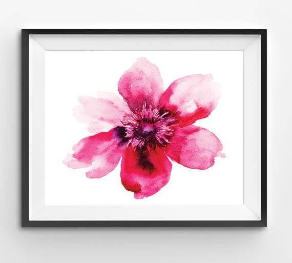 Pink Flower Print watercolor print flower floral watercolor