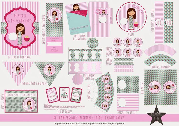 """Impressionne nous !: Kit à imprimer """"Pyjama Party"""""""