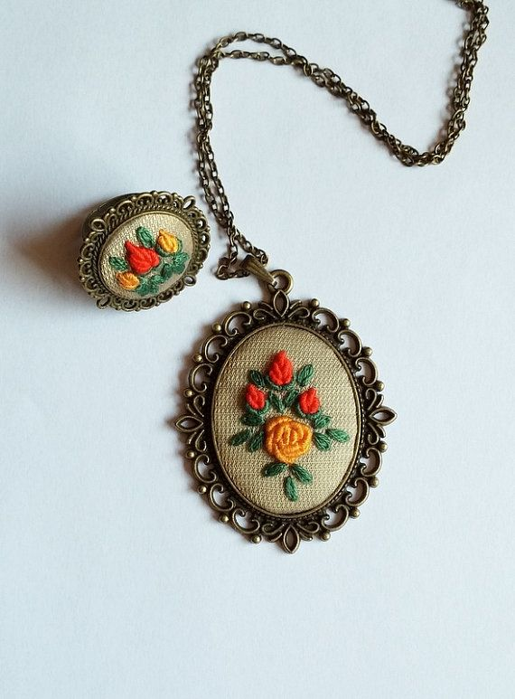 Unique Handmade Jewelry, Hand Embroidered Jewelry, Fabric Jewelry, Statement Necklace, Cocktail Ring, Pendant Necklace, Gift for Her