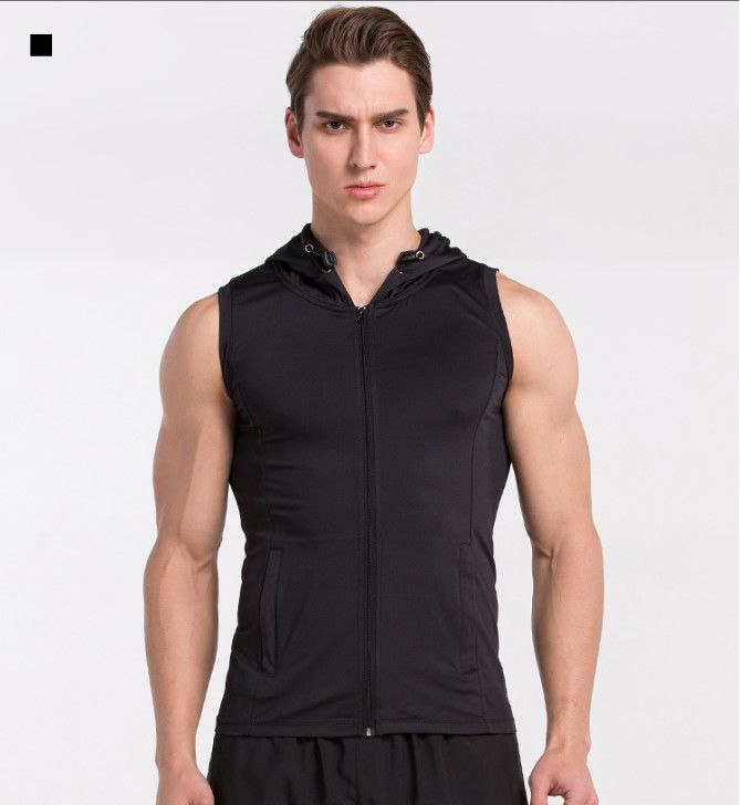 ==> [Free Shipping] Buy Best 2017 New Hooded Sport Tank Tops Men Solid Running Fitness Vest Slim Full Zipper Bodybuilding Shirts Sleeveless with Pocket Online with LOWEST Price | 32802217788