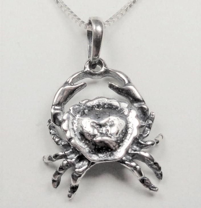STERLING SILVER NAUTICAL BEACH OCEAN SEA CRAB SEA LIFE ANIMAL PENDANT NECKLACE #Unbranded #Pendant