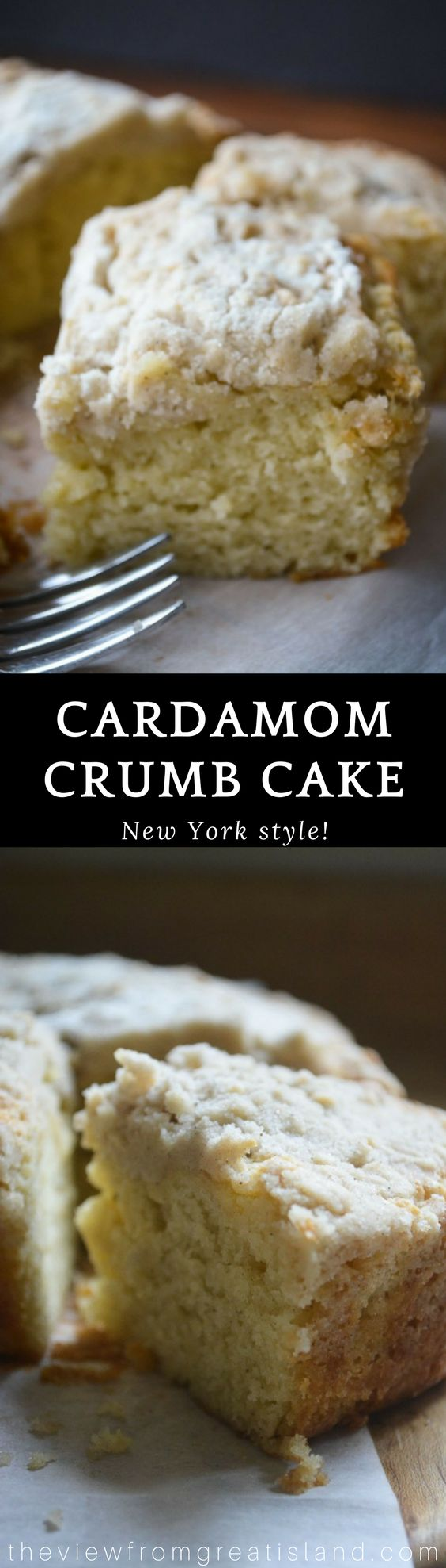 Cardamom Crumb Cake ~ this moist and pillowy New York style crumb cake takes coffee cake to a whole new level with the subtle warmth of cardamom! ~ 3C all purpose flour,  2C sugar,  1 Tbsp baking powder,  1/2 tsp salt,  1 Tbsp cardamom,  3/4C unsalted butter (12 Tbsp),  2/3C milk,  2 large eggs,  1/3C sour cream or plain Greek yogurt,  1 tsp vanilla extract