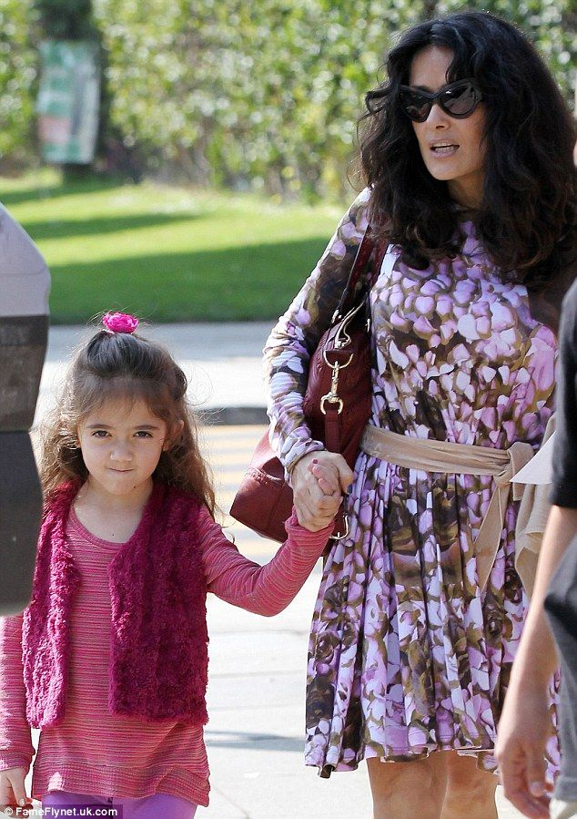 Matching: Salma Hayek and her daughter Valentina were spotted in coordinating shades of pink and purple for their outing in Santa Monica on Monday